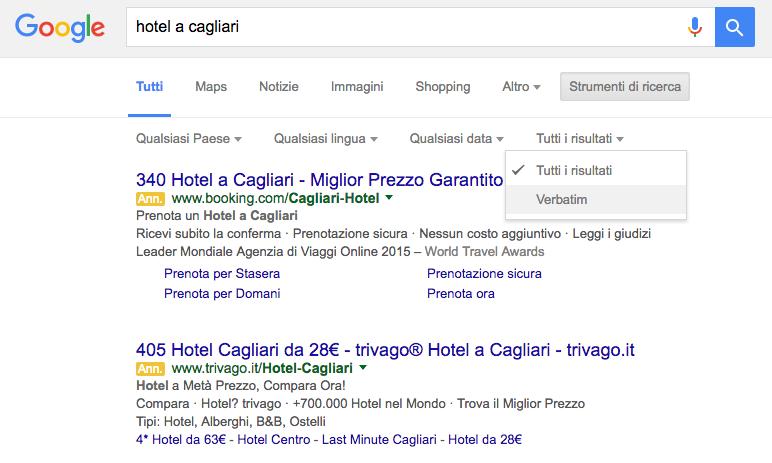SERP Verbatim Google